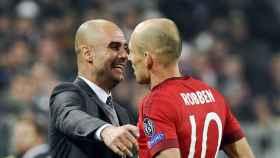 Guardiola y Robben en el Bayern