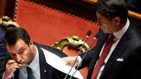 Salvini y Conte este martes en el Senado