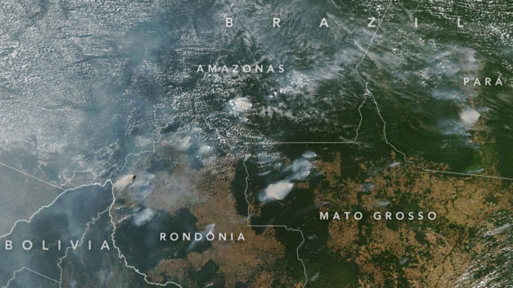 Vista aérea de los incendios de la Amazonia.
