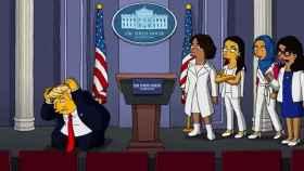 Donald Trump y las congresistas demócratas en una escena del vídeo.