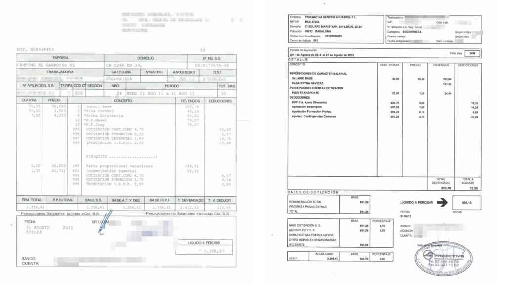 Víctor muestra dos contratos del mismo sector para las mismas horas: el que se ajusta a convenio y el de Proactiva