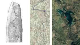 Comparación de la inscripción del menhir, el Tajo antes de la construcción del pantano y el estado actual del río.