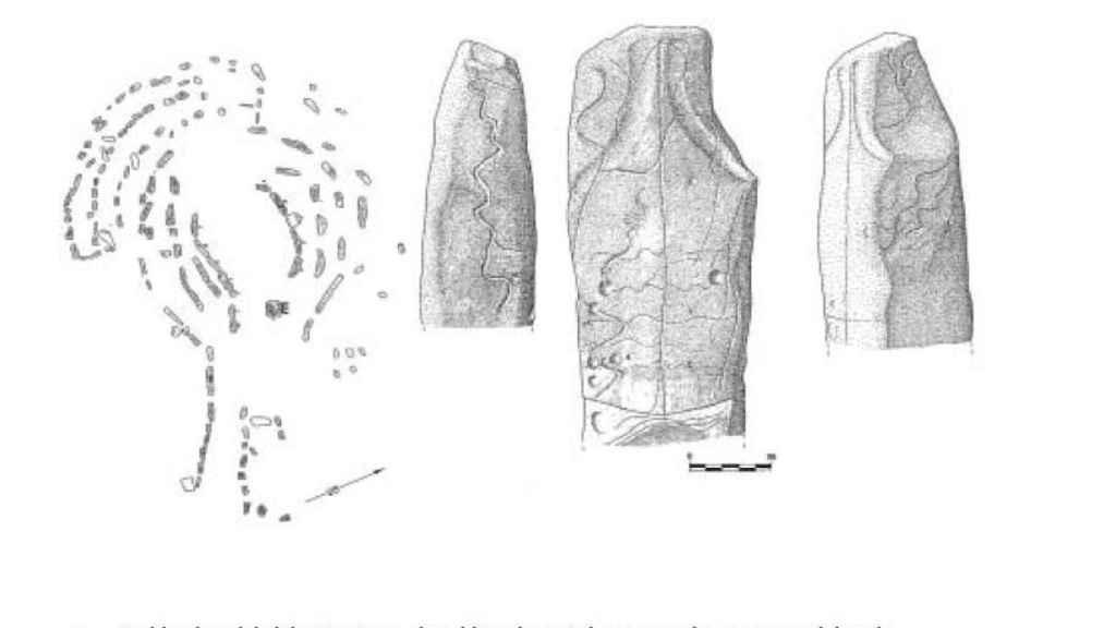 Planta del dolmen de Guadalperal y dibujos del menhir y sus inscripciones talladas.