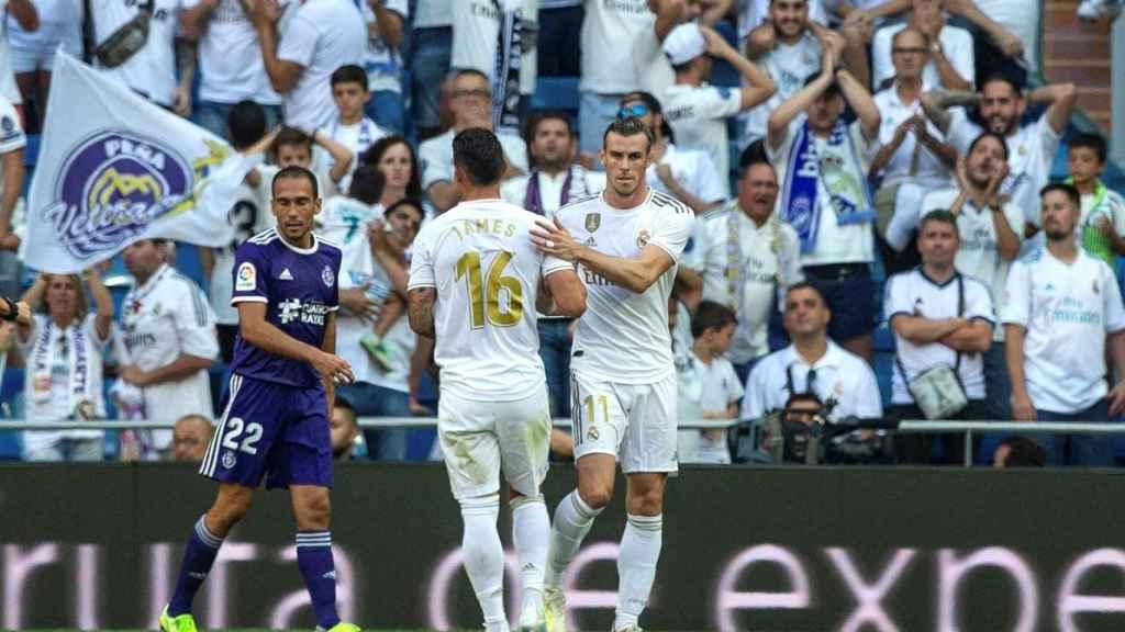 James Rodríguez y Gareth Bale, en el Santiago Bernabéu
