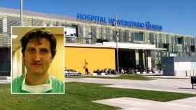 Alberto Forteza Gil con el Hospital Universitario Quirón de fondo.
