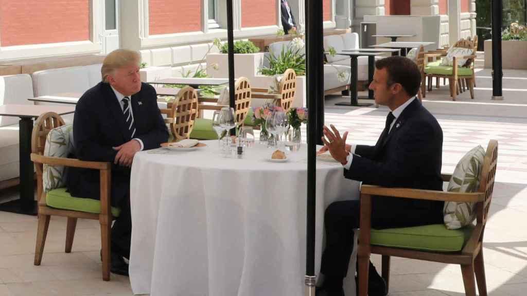 Donald Trump y Macron en el G-7.