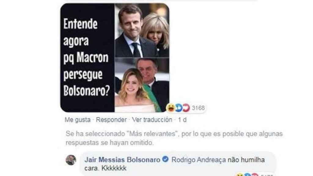 Bolsonaro se burla del físico de Brigitte Macron en Facebook