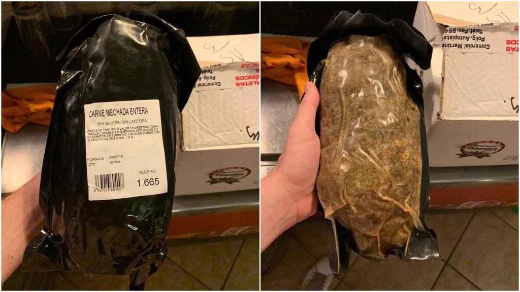 Las fotos de la carne mechada contaminada que ha compartido el Ministerio.