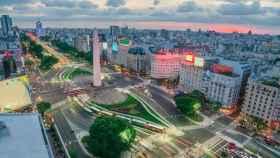 El Obelisco de Buenos Aires en la Avenida 9 de Julio.