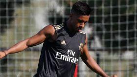 Rodrygo, en un entrenamiento del Real Madrid