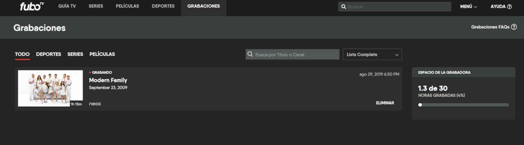 Grabación en fuboTV