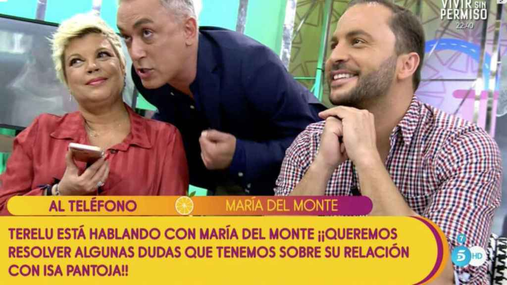 El momento en que María del Monte entraba en directo en 'Sálvame'.