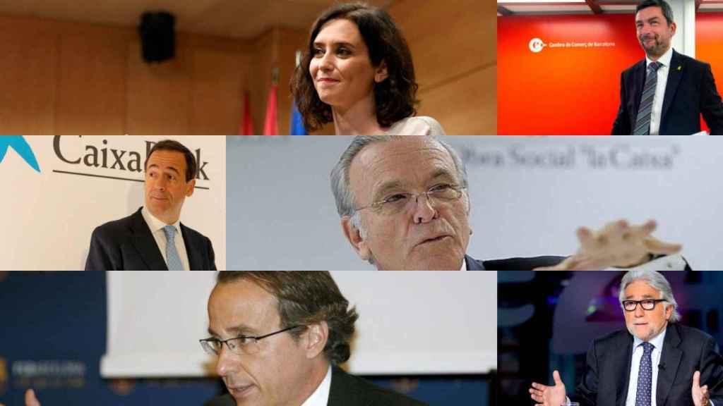 Díaz Ayuso, Joan Canadell, Gonzalo Gortázar, Isidro Fainé, Javier Faus y Josep Sánchez Llibre.