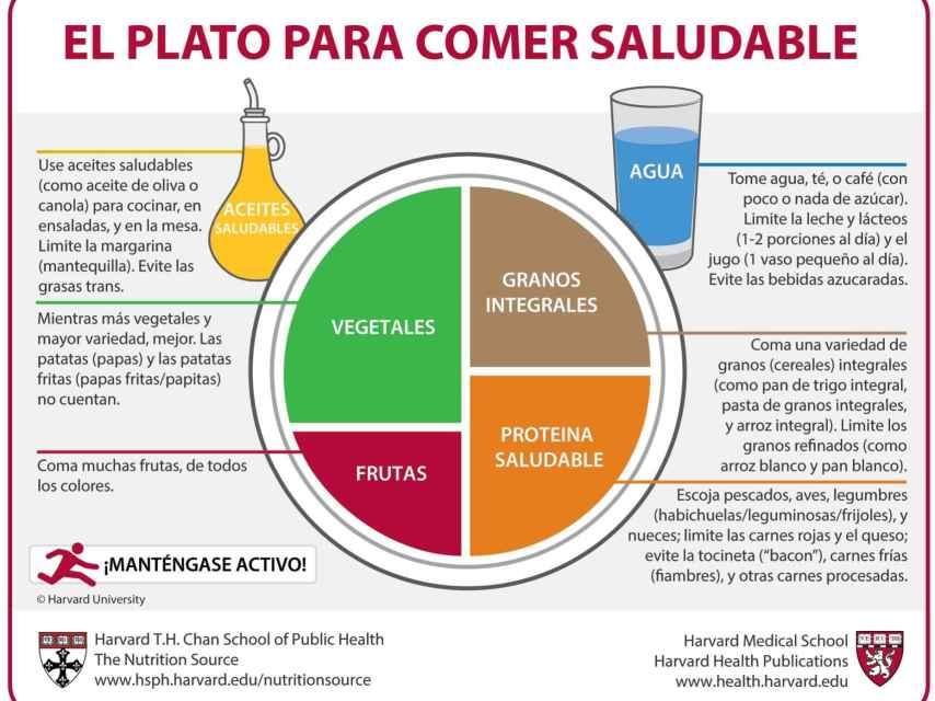 El Plato para Comer Saludable elaborado por investigadores de la Universidad de Harvard.