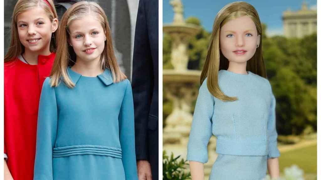 La princesa Leonor en un montaje junto a la muñeca inspirada en su imagen.