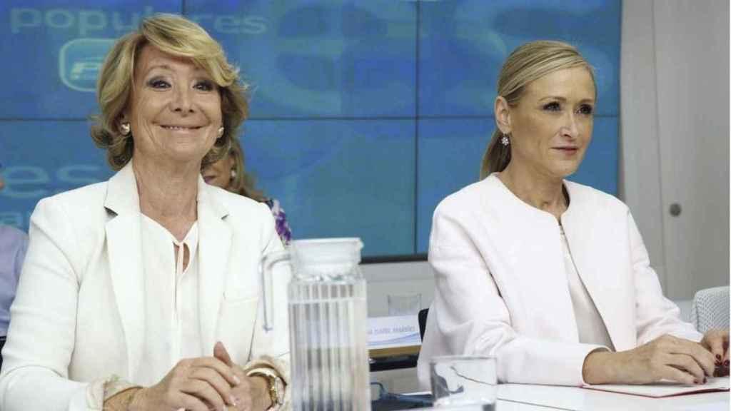 Las expresidentas de la Comunidad de Madrid, Esperanza Aguirre y Cristina Cifuentes (Foto de archivo)