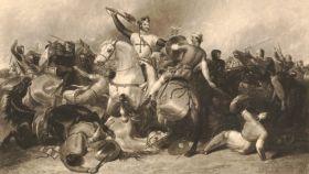 Escena de Ricardo Corazón de León combatiendo con Saladino.