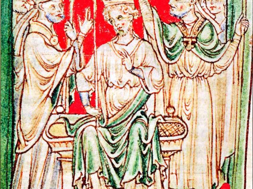 Ricardo I siendo ungido durante su coronación como rey en la abadía de Westminster, Londres. Ilustración de una crónica del siglo XIII.