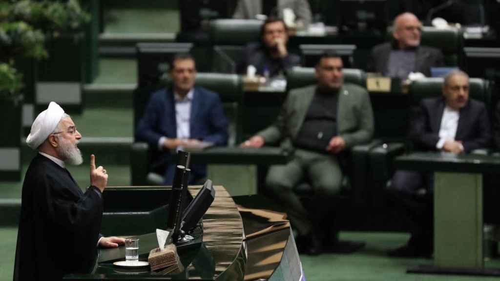 El presidente de Irán, Hassan Rouhani, en el Parlamento del país este martes.