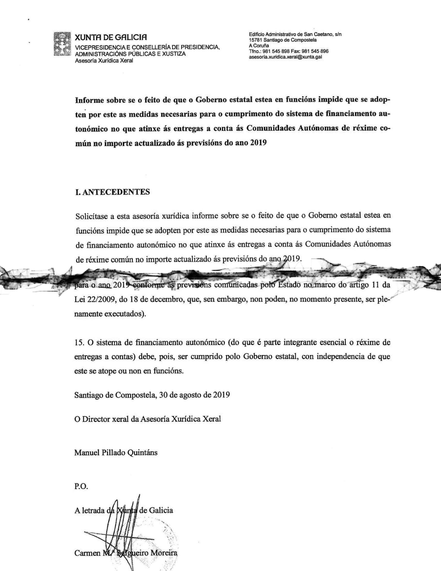 Detalles de la primera y última páginas del Informe de la Xunta.