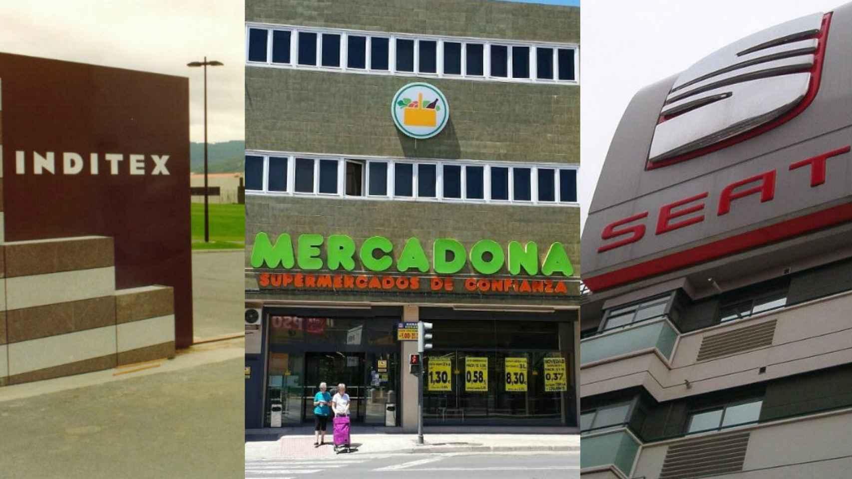 Fotomontaje de la sede de Inditex en Arteixo, un supermercado Mercadona en Tavernes Blanques y la sede de Seat en Martorell.