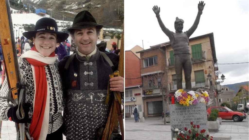 La estatua de Paquito, a la derecha. Blanca y su hermano,  izquierda, en una competición.