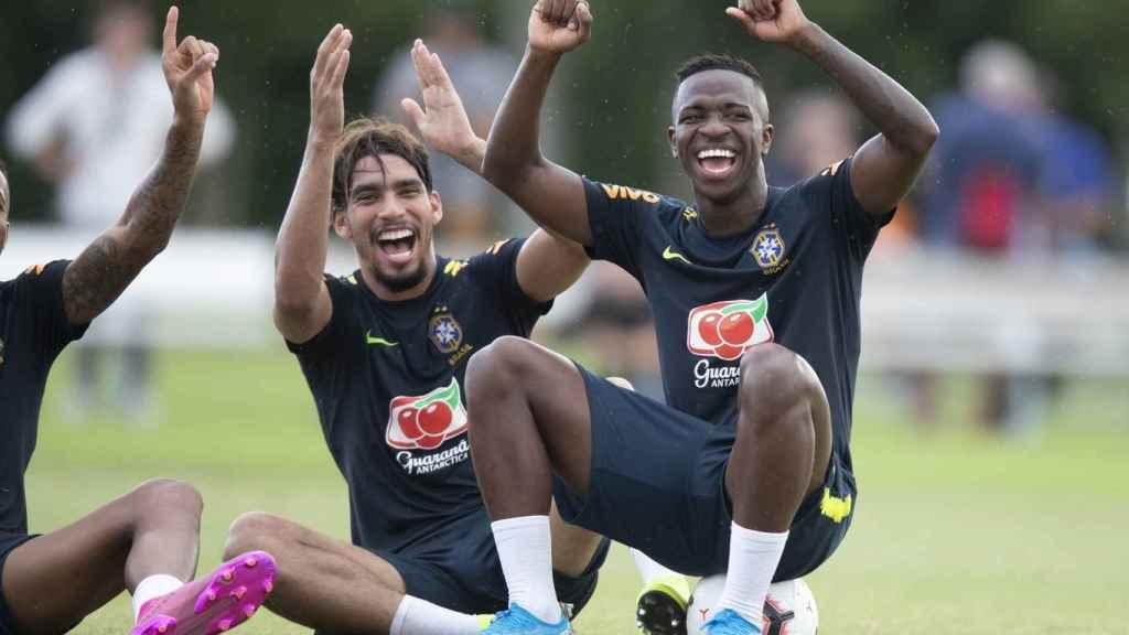 Vinicius y Lucas Paquetá con la selección de Brasil. Foto: Twitter (@viniciusjr)