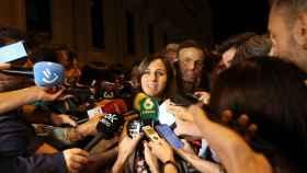 Ione Belarra, portavoz de Unidas Podemos en el Congreso, atiende a la prensa a la salida de la reunión con el PSOE.