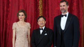 Felipe y Letizia junto a Naruhito en su visita a España en junio de 2013.