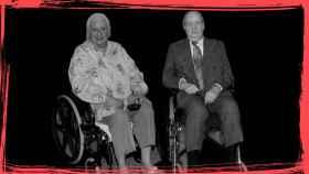 La Infanta Pilar y el rey Emérito en sillas de ruedas