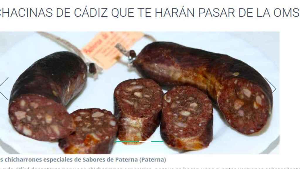 Captura de pantalla de la web de 'Sabores de Paterna'