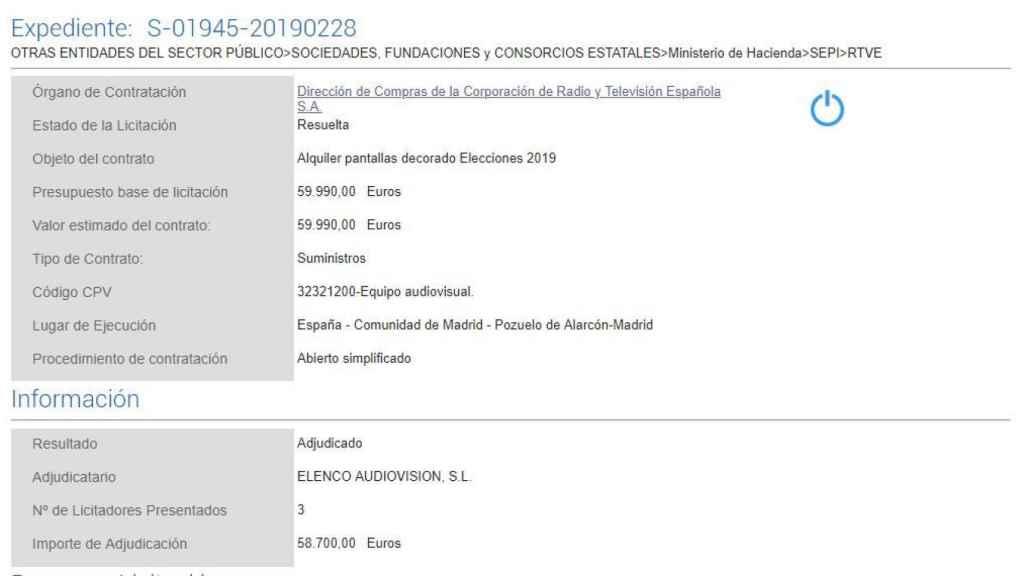 Detalle de uno de los expedientes de licitación y adjudicación de servicios para RTVE de cara a las elecciones del 28-A.