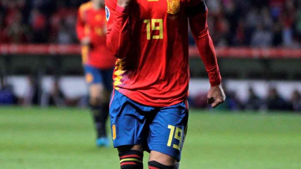 Rodrigo Moreno celebra uno de sus goles ante Islas Feroe