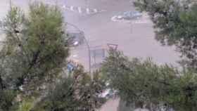 Inundaciones por la tormenta de este domingo en Ciudad Real capital. Foto: Twitter Ayuntamiento de Ciudad Real. Abajo fotos del Twitter de Meteocr