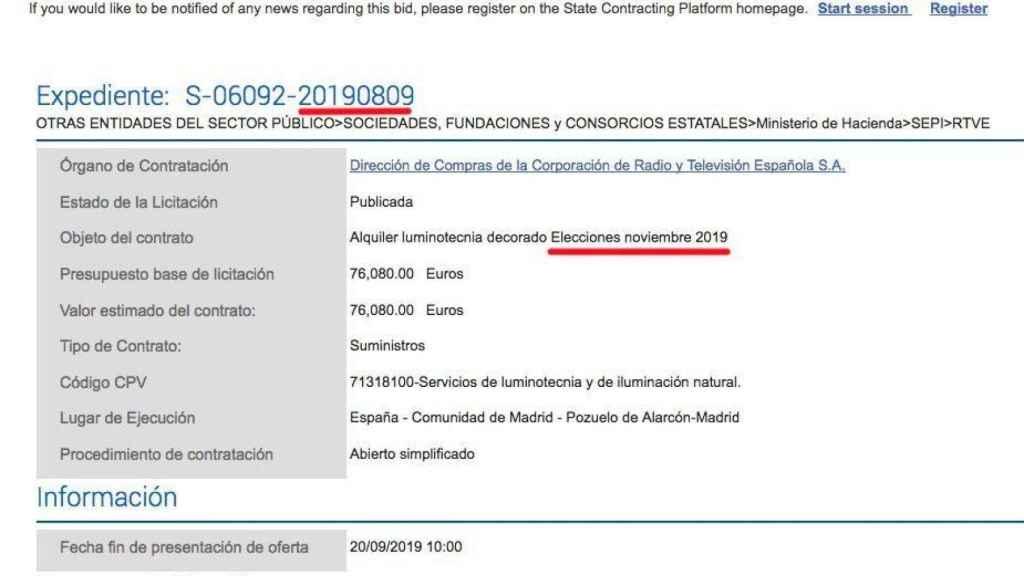 Captura del portal de Contratación del Estado compartida por la cuentade Pablo Echenique en su Twitter.