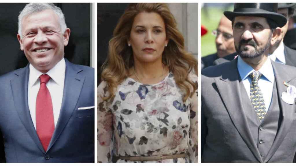 El rey de Jordania junto a su hermana, la princesa Haya, y su exmarido, el emir de Dubái en montaje JALEOS.