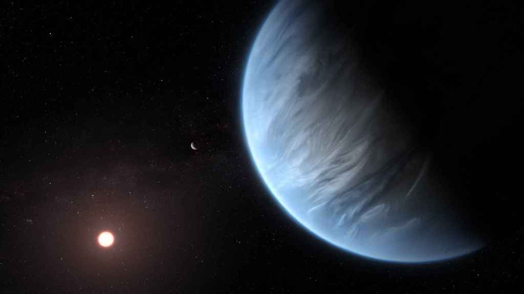 Representación del planeta K2-18b.