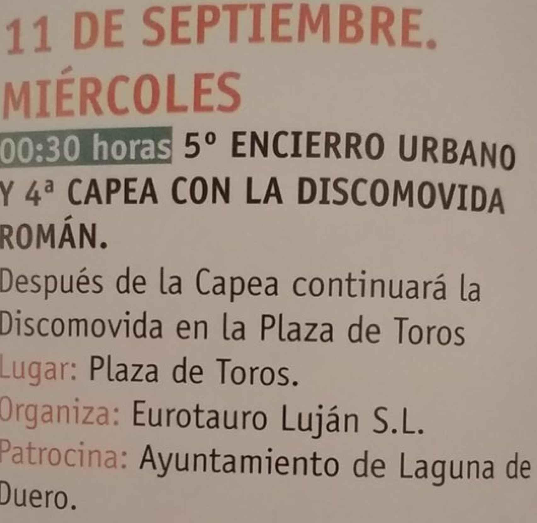 Programa de la discomóvil de Laguna de Duero (Valladolid).