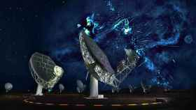 Recreación del radiotelescopio MeerKAT y las estructuras recién descubiertas en la Vía Láctea.