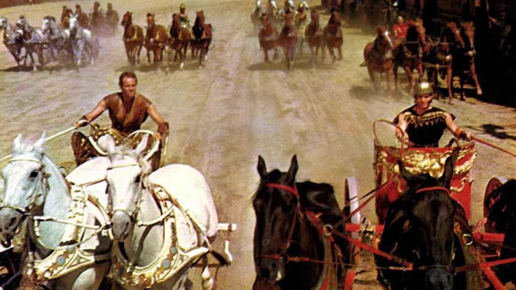 La famosa escena de la carrera de carros de la película 'Ben Hur'.
