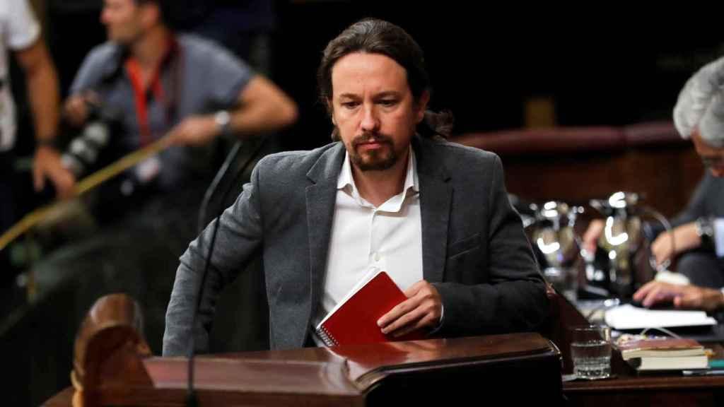 Pablo Iglesias sube al atril este miércoles en el Congreso de los Diputados.