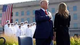 Donald Trump ante el Pentágono en la ceremonia en memoria de las víctimas del 11-S.