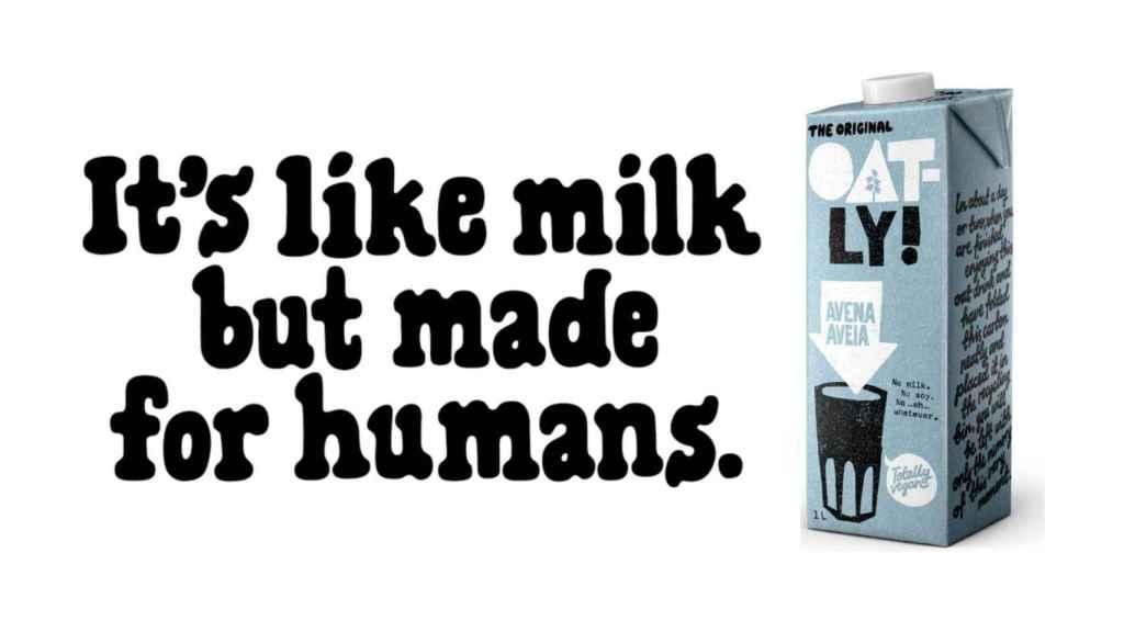 El eslogan y el producto que Oatly ha publicado en redes y en lugares públicos.