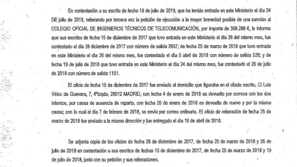 Extracto de la carta enviada por el Ministerio.