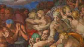 Parte del fresco del Juicio Final en la Capilla Sixtina, que representa un beso entre dos hombres.