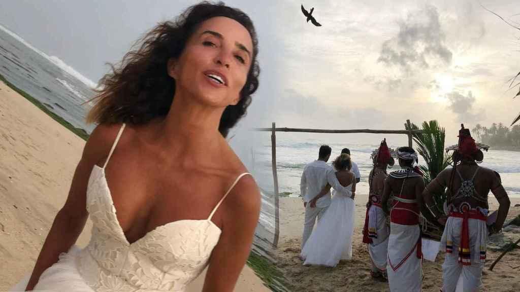 María Patiño, el día de su boda en Sri Lanka el pasado 15 de agosto.