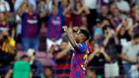 Ansu Fati, tras marcar el primer gol del Barcelona