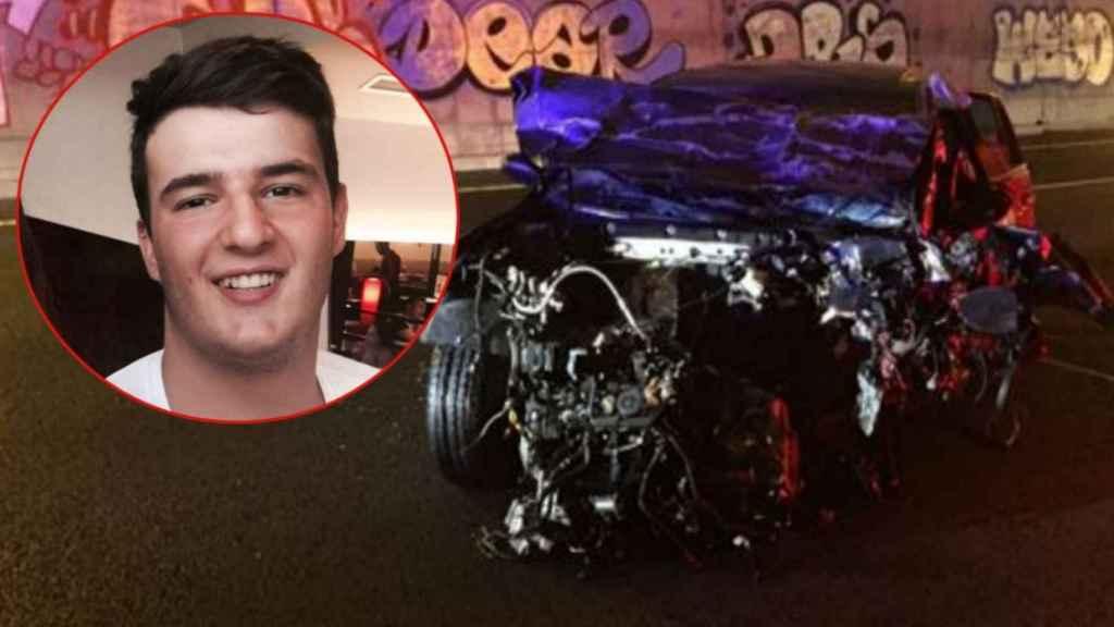A la izquierda, Víctor López, fallecido tras colisionar su vehículo contra el de un conductor kamikaze, a la derecha el coche tras el siniestro.
