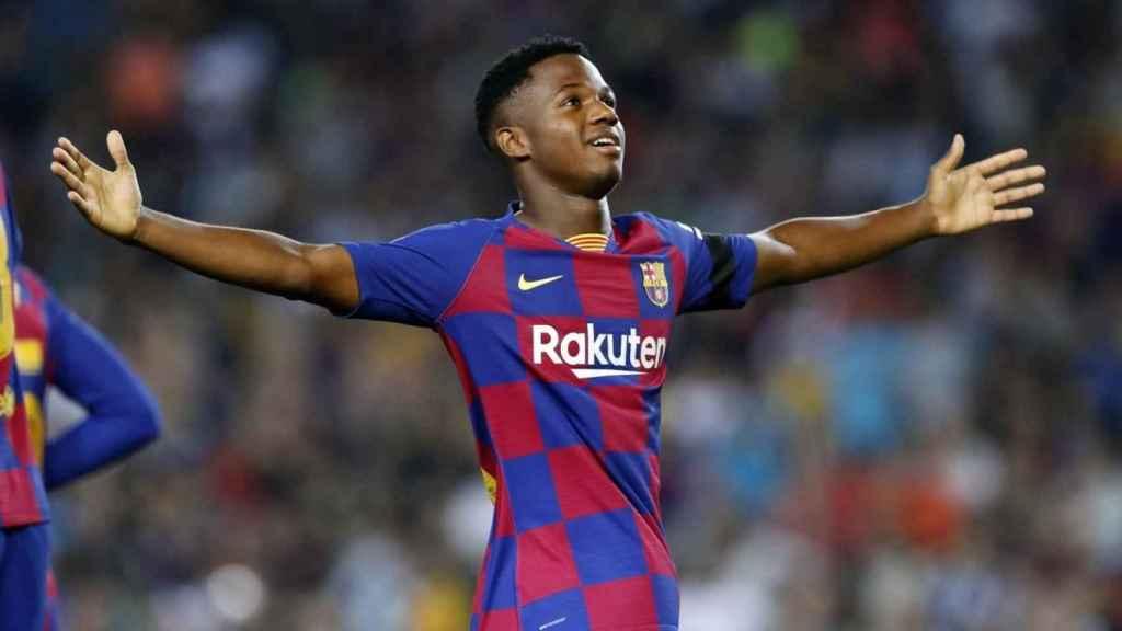 Ansu Fati celebrando un gol. Foto: fcbarcelona.es