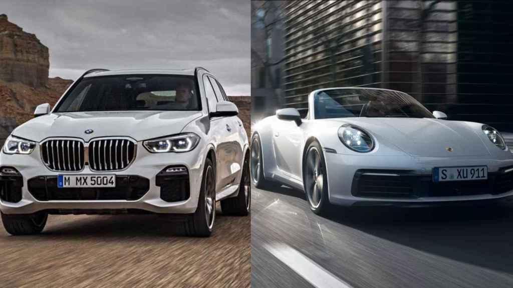 A la izquierda, BMW X5; a la derecha, Porsche 911